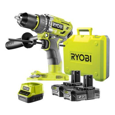 Ryobi R18PD7-220B 18 V szénkefe nélküli nagyteljesítményű ütvefúró-csavarozó, 2 x 2,0 Ah akku, töltő, koffer